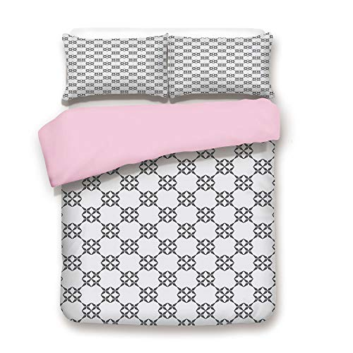 Floral Square Fusion (Pink Duvet Cover Set,King Size,Monochrome Middle Eastern Geometric Abstract Floral Pattern Squares and Lines,Decorative 3 Piece Bedding Set with 2 Pillow Sham,Best Gift For Girls Women,Grey Beige)