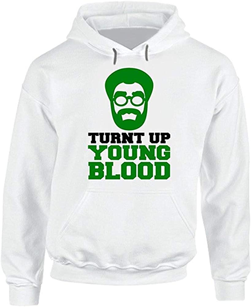 Turnt Up Young Blood Uncle Drew Kyrie Irvin Boston Basketball Funny White Hooded Pullover