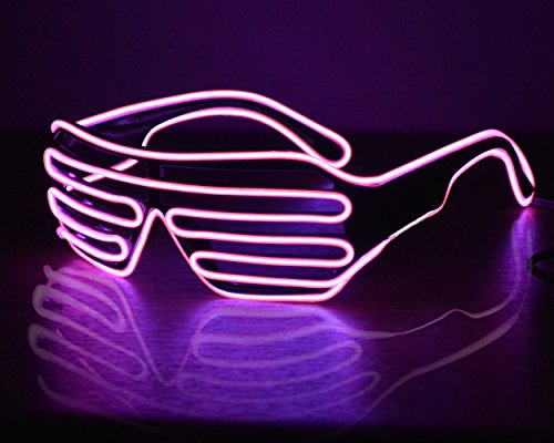 LED Glasses Light Up Shutter Shaped Sunglasses Neon EL Wire Glasses Glow in Dark Rave Costume Party Favors (Dj Halloween Costumes For Girls)