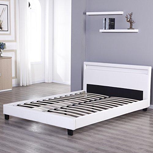 uhom modern queen bed frame home bedroom double size leather platform wood slat with led light. Black Bedroom Furniture Sets. Home Design Ideas