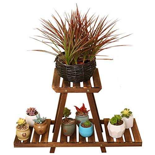 Summer Promotional Flower Stand Simple Succulent Flower Pot Rack, Carbonized Anti-Corrosion Pine Multi-Functional Flower Stand for Wooden Balcony Living Room