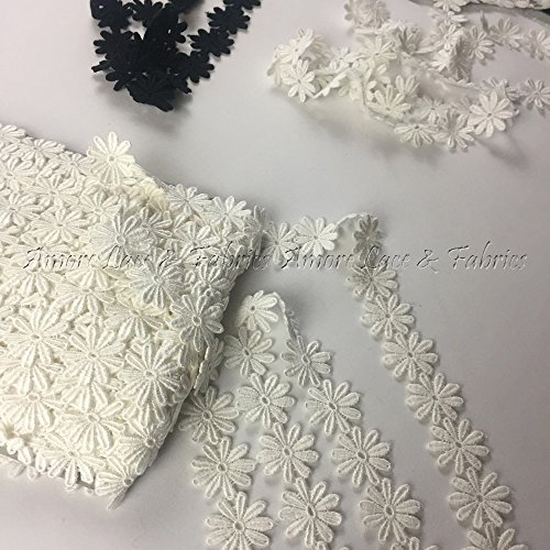 5 Yard, Margarita Daisy Flower Venise Lace Trim, Gorgeous, Off White, - Daisy Trim