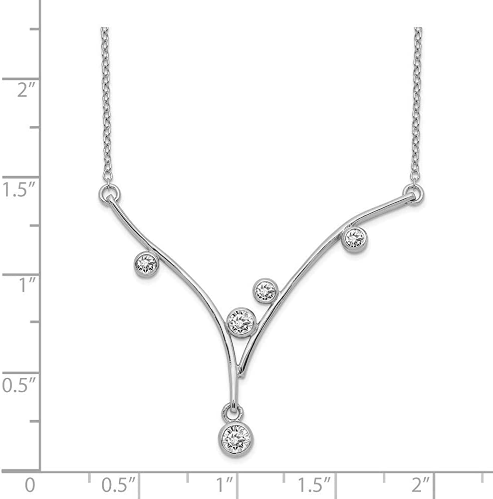 925 Sterling Silver Rhodium plated CZ Cubic Zirconia Simulated Diamond V bar With 1inch Ext Necklace 16 Inch Jewelry Gifts for Women