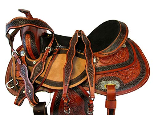 (PRO Western Saddle 15 16 17 Barrel Racing Pleasure Horse Leather Trail TACK Set (17))