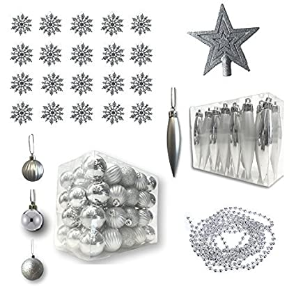 banberry designs silver christmas decorations pack of 100 assorted silver finished christmas ornaments silver - Silver Christmas Decorations