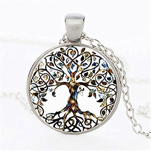 Heyuni. Tree of Life Pendant Birthstone Necklace Natural Healing Stone Crystal Necklace