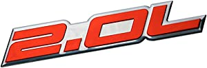 ERPART 2.0L Liter Embossed RED on Highly Polished Silver Real Aluminum Auto Emblem Badge Nameplate Compatible with KIA Subaru