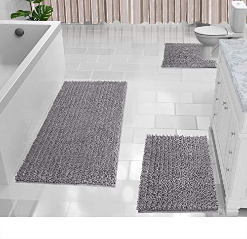 Yimobra 3 Piece Shaggy Chenille Bath Mat Sets, Extra Large Bathroom Mats 44.1×24 + Bathroom Rugs 31.5×19.8 + Toilet Mat…