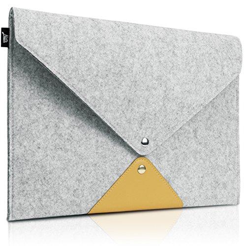 "11-11.6 Inch MacBook Air Sleeve Envelope Bag Case, Natur® 11"" 11.6"" Laptop Sleeve Slim Felt Laptop Carry Envelope Bag with PU Leather Computer Protective Sleeve Case - Grey"