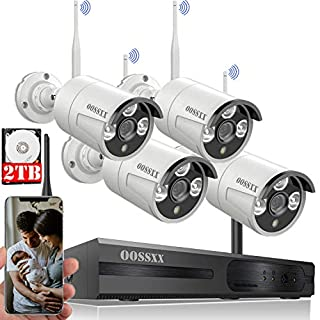 [Expandable 8CH] Wireless NVR Security Camera System Outdoor with 2TB Hard Drive,Wireless CCTV Video Surveillance WiFi Camera Systems with DVR,4Pcs 1080P Wireless IP Cameras with One-Way Audio