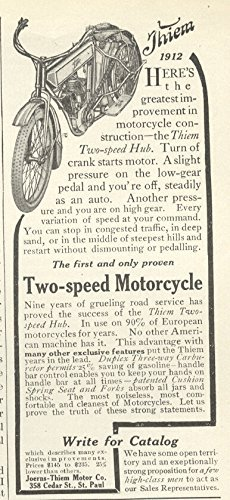 1912 Ad Joerns Thiem Motor Motorcycle Two Speed Hub - Original Vintage Advertisement