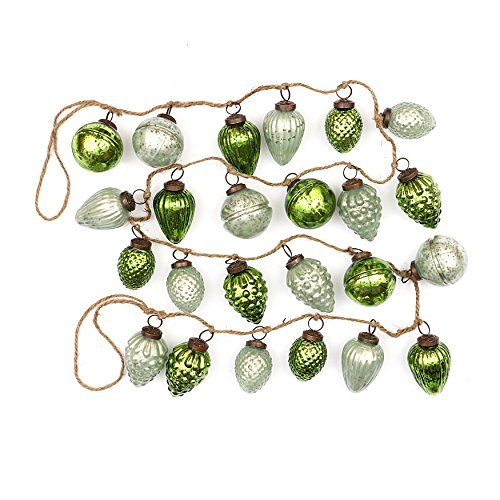 Creative Co-op Distressed Green Embossed Mercury Glass Ornament Rope String Garland -