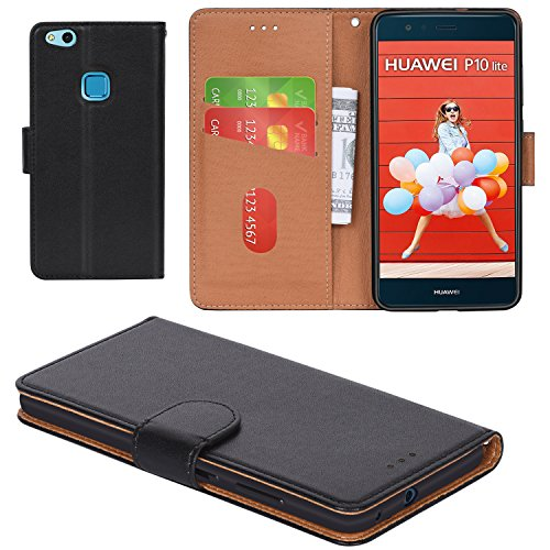 , Aicoco Flip Cover Leather, Phone Wallet Case for Huawei P10 Lite - Black (Lite Flap)