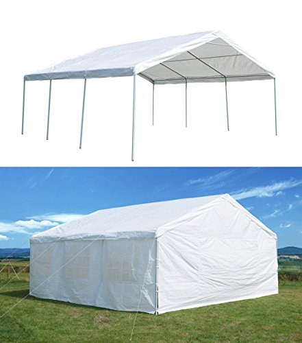 GOJOOASIS 20 x 20 ft Heavy Duty Outdoor Metal Carport w/Sidewalls Commercial Wedding Party Frame Gazebo Tent 3 Rooms (2 Carport Canopy)