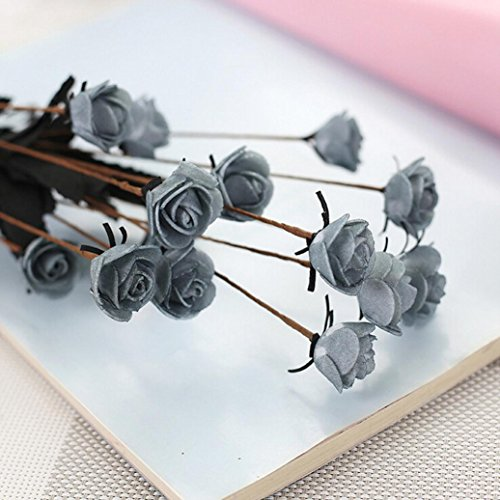 YJYdada Artificial PE Fake Flowers Rose Floral Wedding Bouquet Bridal Hydrangea Decor (Gray) -