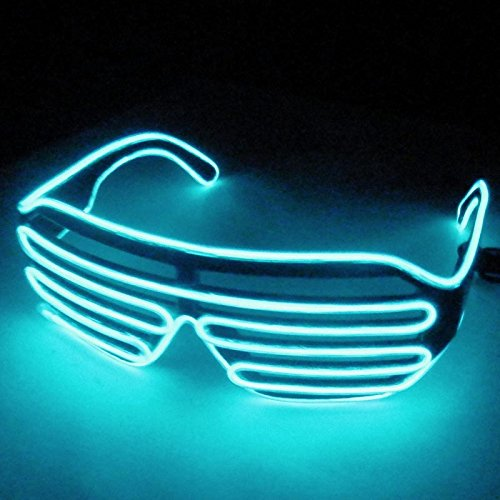 Dealgadgets EL Glasses El Wire Fashion Neon LED Light Up Shutter Shaped Glow Sun Glasses Rave Costume Party DJ Bright SunGlasses (Ice - Hour 1 Neon Sunglasses