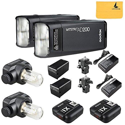GODOX AD200 TTL 2.4G HSS 1/8000s 2Pcs Pocket Flash Light Double Head 200Ws with 2900mAh Lithium Battery Flashlight Flash Lightning+GODOX X1T-S 2Pcs Flash Trigger Transmitter for Sony DSLR Cameras by Godox