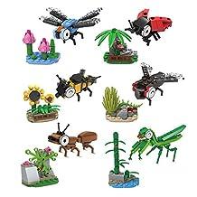 Iblocks 367pcs Animal Series Insect Ladybug Dragonfly Mantis Bee Figures Plastic Building Blocks Set Educational Children Toys