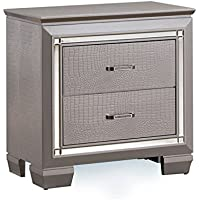 Furniture of America Rachel 2 Drawer Nightstand in Silver