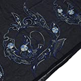Indian Vintage Sari Hand Beaded Embroidered Saree Art Silk Fabric Deep Blue
