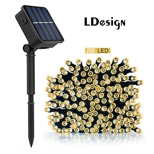 Amazon Lightning Deal 67% claimed: Solar String Lights, LDesign 72ft 200 LED Solar Powered String Lights Waterproof Christmas Lights with 8 Working Modes for Outdoor, Garden, Home, Christmas Party, Xmas Tree - Warm White