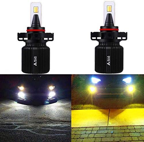 Alla Lighting 8000LM 5201 5202 LEDスイッチバックフォグライト電球 非常に明るいデュアルカラー 6000K キセノンホワイト/3000K イエロースイッチ PS19W PS24WFF フォグデイタイムランニングライト交換用