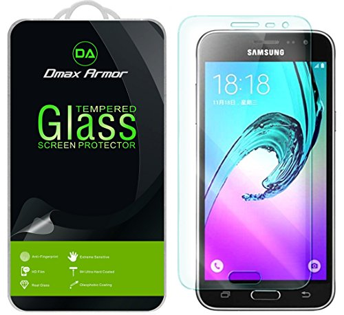 [2-Pack] Dmax Armor for Samsung Galaxy J3 / Galaxy J3 (2016) Screen Protector, [Tempered Glass] 0.3mm 9H Hardness, Anti-Scratch, Anti-Fingerprint, Bubble Free, Ultra-Clear