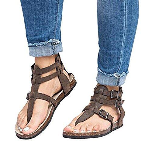 Scava Caviglia Estivi Scarpe Bar Toe Donna Peep Fibbia Fuori T Juleya Tacco Piatto Marrone Cinturino Alla Sandali Con E1fwqxX