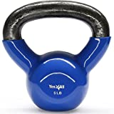 Yes4All Vinyl Coated Kettlebells – Weight Available: 5, 10, 15, 20, 25, 30, 35, 40, 45, 50 lbs