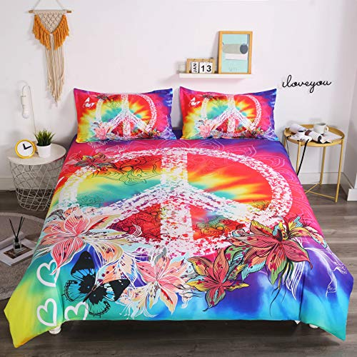 ,Hippie Psychedelic Tie-Dyed Backdrop Peace Sign,Bedding ...