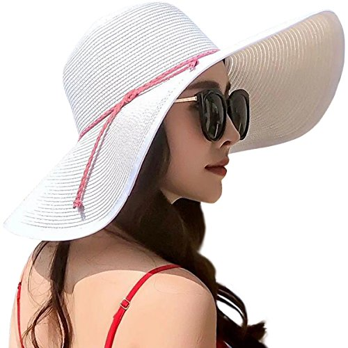 Lanzom Womens Wide Brim Straw Hat Floppy Foldable Roll up Cap Beach Sun Hat UPF 50+ (Style B-White)