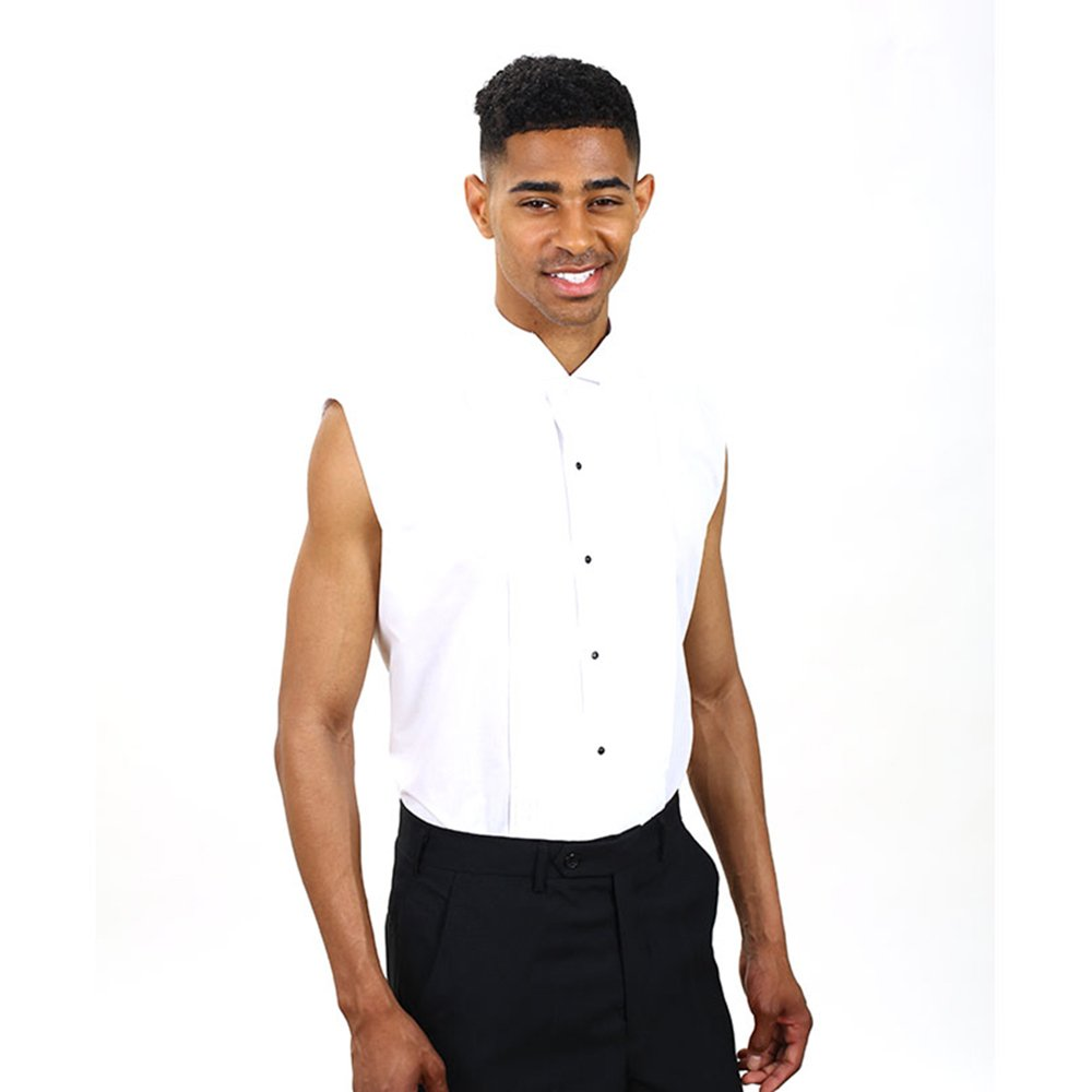 SixStarUniforms Men's White Sleeveless Tuxedo Shirt (Large/Neck(16-16.5))