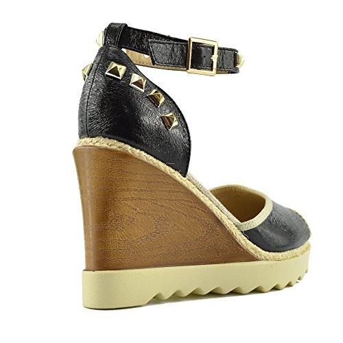 Kick Footwear - Womens High Wedge Heel Ankle Strap Ladies Sandals Hessian Summer Platforms Black Af8668 pnAizy3IN
