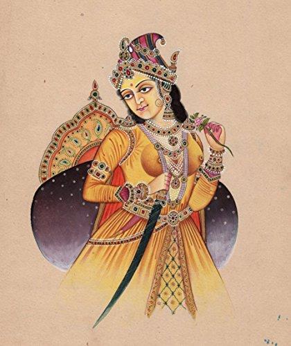 Indian Miniature Painting Handmade Mughal Empress Noor Jahan Portrait Ethnic Art