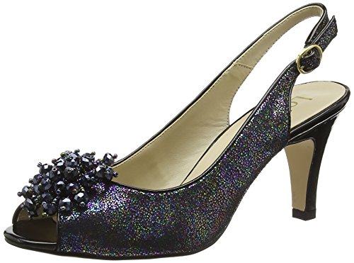 Lotus WoMen Clematis Sling Back Heels Black (Black Multi)