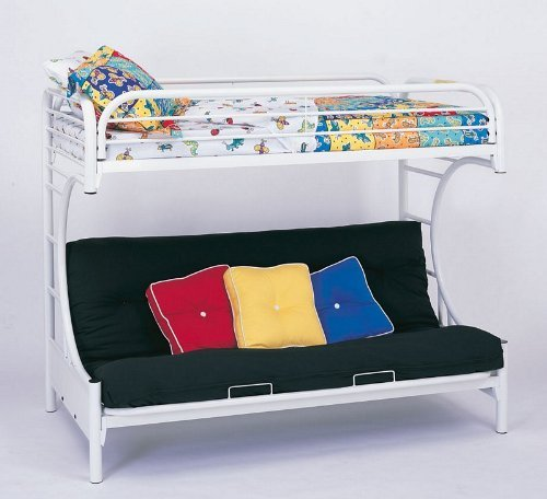 Bunk Bed - ''C'' Style Twin / Futon Bunk Bed in White - Coaster by Coaster Home Furnishings