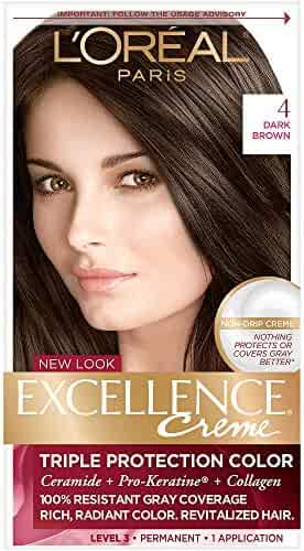 L'Oreal Paris Excellence Creme Permanent Hair Color, 4 Dark Brown