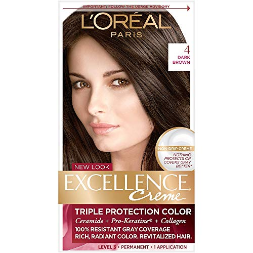 L'Oreal Paris Excellence Creme Permanent Hair Color, 4 Dark Brown (The Best Permanent Hair Color)