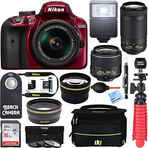 Nikon D3400 24.2MP DSLR Camera w/AF-P 18-55 VR & 70-300mm Dual Lens Accessory Bundle - (Certified Refurbished) (Red)