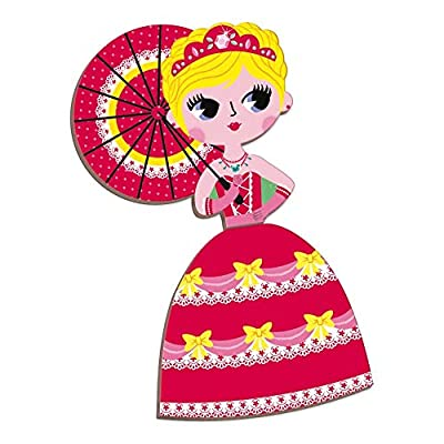 Janod MagnetiBook 63 pc Magnetic Princess Costumes Dress Up Game for Imagination Play - Book Shaped Travel/Storage Case Included - S.T.E.M. Toy for Ages 3+, One Color: Toys & Games