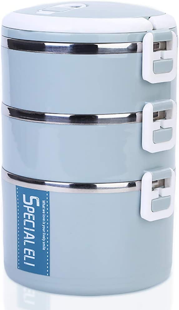 Blue, 3-Tiers Ldawy Lunch Box Insulated Bento Boxes Stackable Stainless Steel Lunch Storage Containers for Kids School and Adults Office