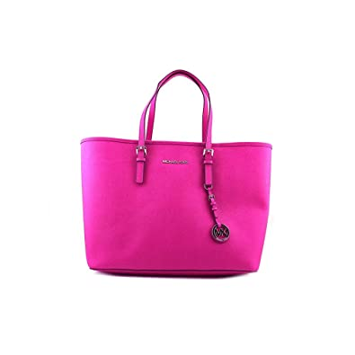Amazon.com: Michael Kors Jet Set Medium Travel Tote Fuschia Pink ...