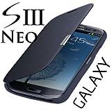 betterfon Samsung Galaxy S3 I9300 / S3 LTE I9305 / S3 Neo I9301 Flip Cover Dunkelblau Hülle Tasche Akkudeckel Flip Case + Displayschutzfolie