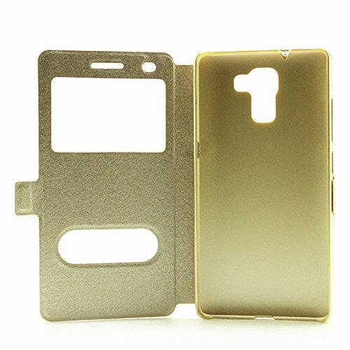 YAJIE-Carcasa Funda Para Huawei Honor 7, color sólido cuero de la PU con soporte doble ventana abierta patrón de seda funda protectora (responder o rechazar llamadas sin abrir la tapa) ( Color : Black Gold