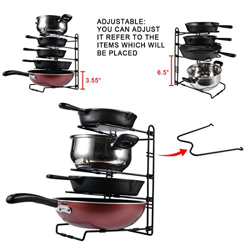 SHMEIQI Heavy Duty Pan Pot Lid Organizer Rack Holder Cabinet, Pantry, Countertop, Cupboard - Adjustable Compartments by SHMEIQI (Image #4)