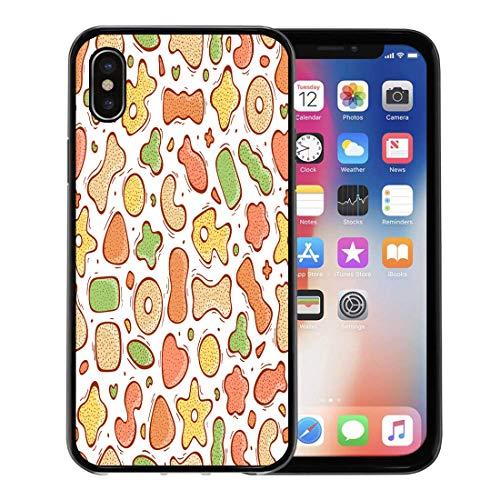 Emvency Phone Case for Apple iPhone Xs Case/iPhone X Case,Biscuit Animal Pet Dry Food Doodle Cat Dog Bagel Soft Rubber Border Decorative, Black