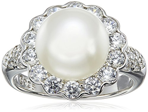 Platinum Plated Sterling Silver Cubic Zirconia Freshwater Cultured Flower Pearl Ring, Size 8