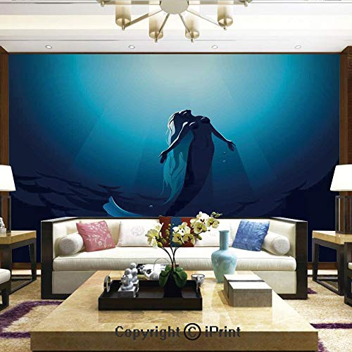 Wallpaper Nature Poster Art Photo Decor Wall Mural for Living Room,Mermaid in Deep Water Swimming up to The Surface Sunlight Rays,Home Decor - 100x144 ()