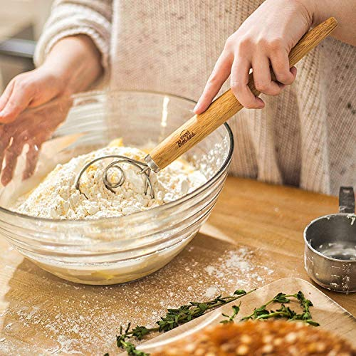 Danish Dough Whisk for Bread Making - Kitchen Grade Hand Mixer and Blender for Baking Cake, Dessert, Pizza, Pastry, Sourdough, Cooking - Stainless Steel Hook Wisk with Large Comfort Grip Wooden Handle by Bread Bosses (Image #6)