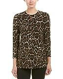 Anne Klein Women's Animal Print Long Sleeve Knit Top, Tyrol Combo, M
